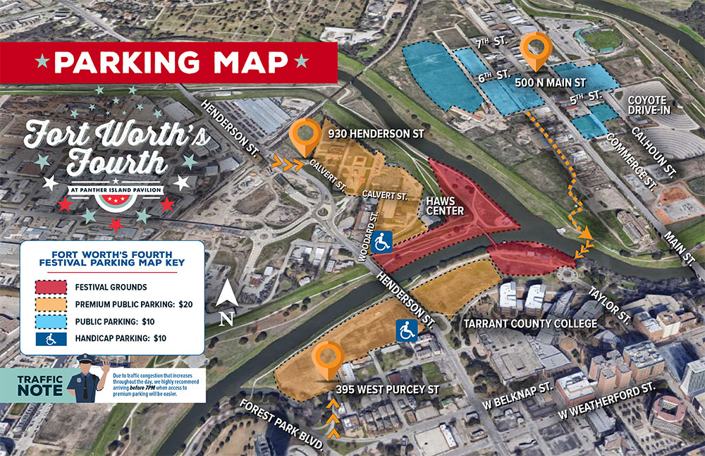 Parking Map for Panther Island Pavilion